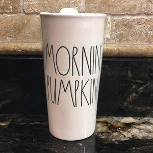 New Rae Dunn MORNIN' PUMPKIN Coffee Tumbler